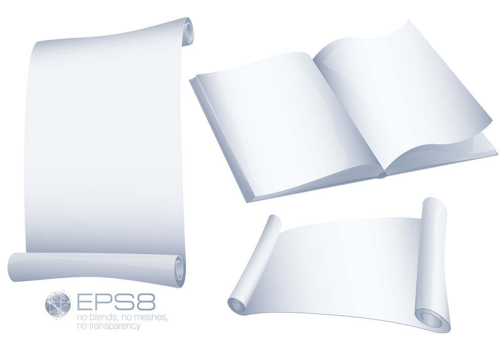 White Blank Papers. Scrolls And Book. Vector.