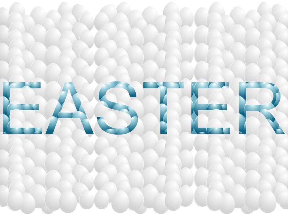 White Egg Background With Easter