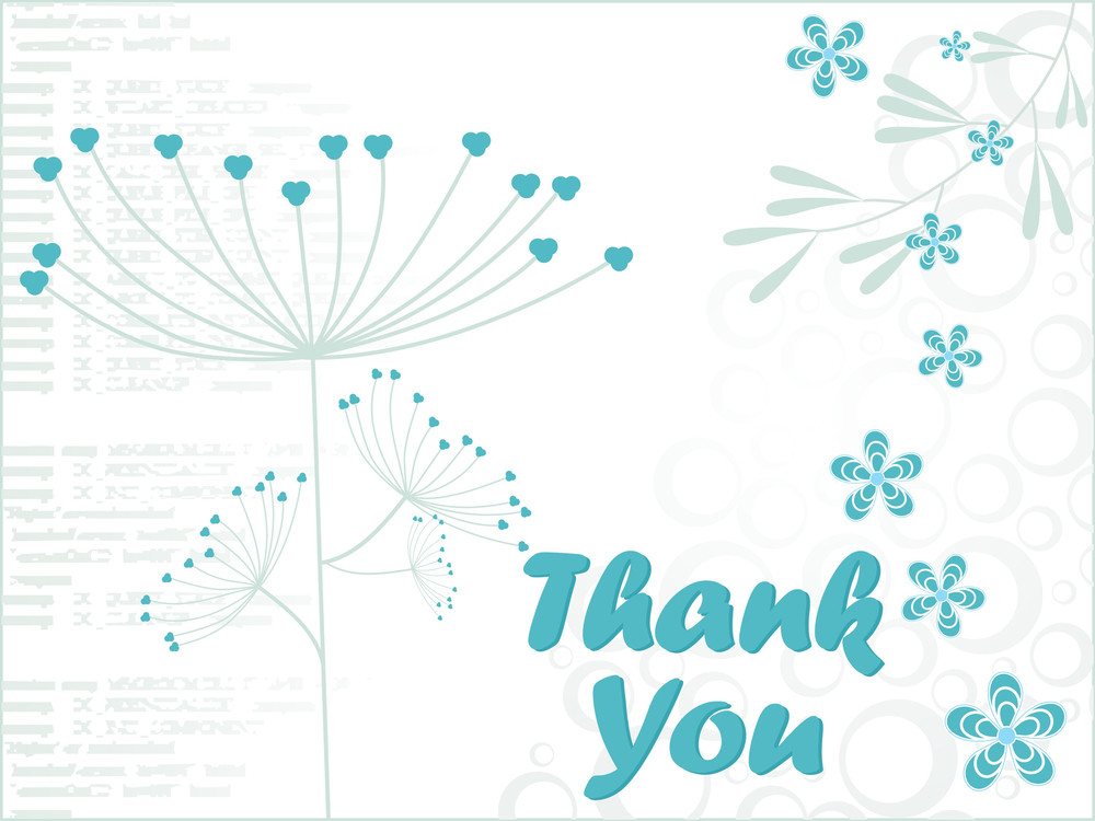 White Floral Background With Thankyou Tex