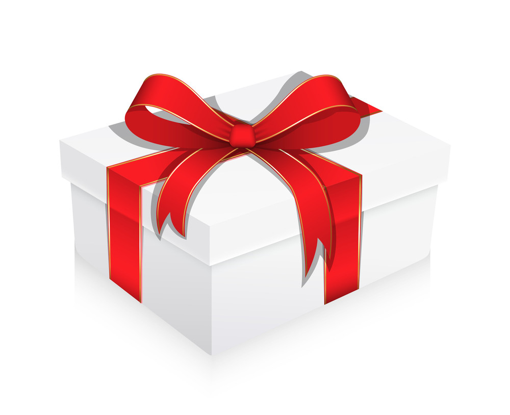 White Gift Box Wrapped With Ribbon