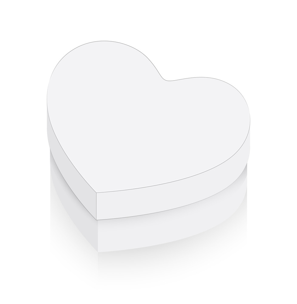 White Heart Box Vector Shape