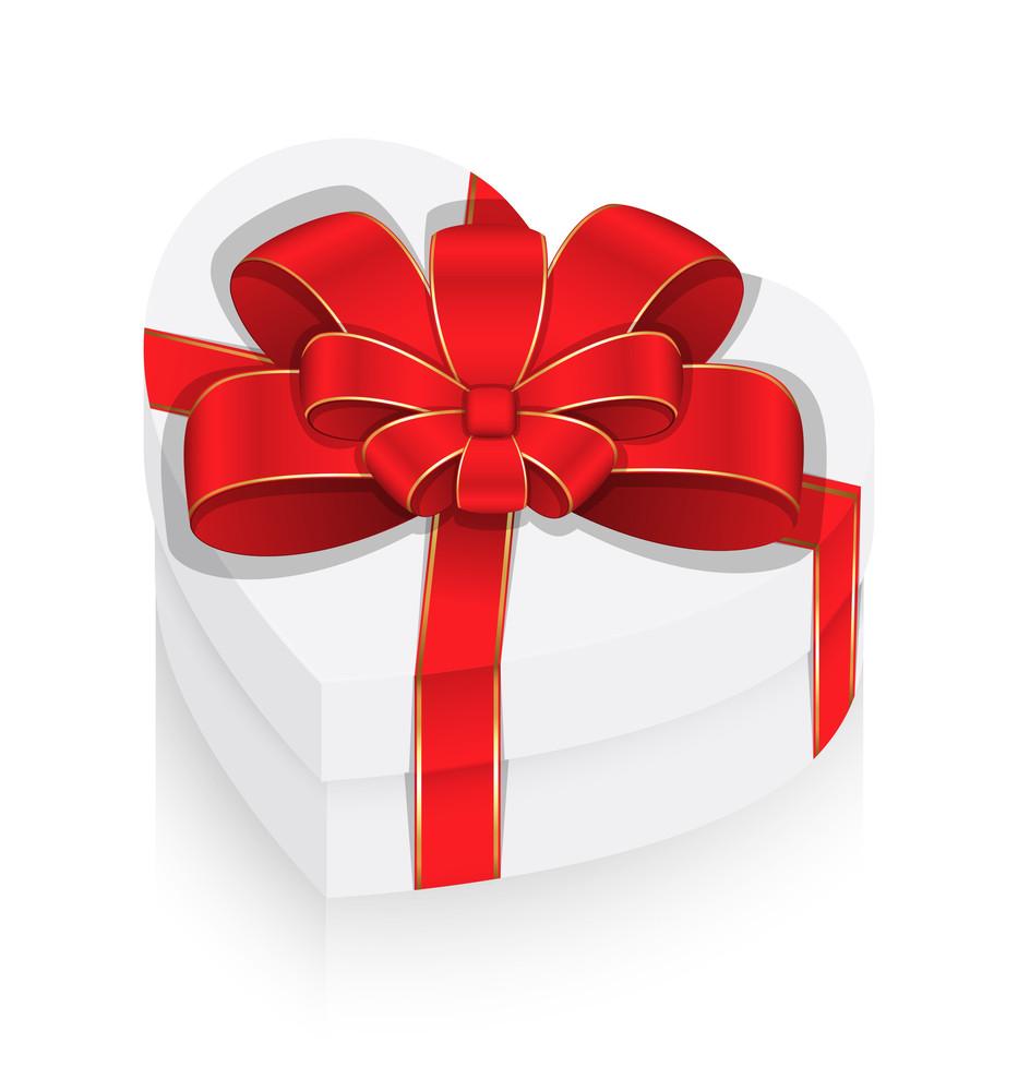White Heart Box With Ribbon Bow