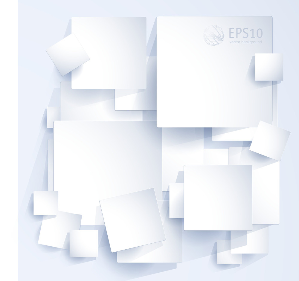 White On White Paper Light Background. Vector Website Template