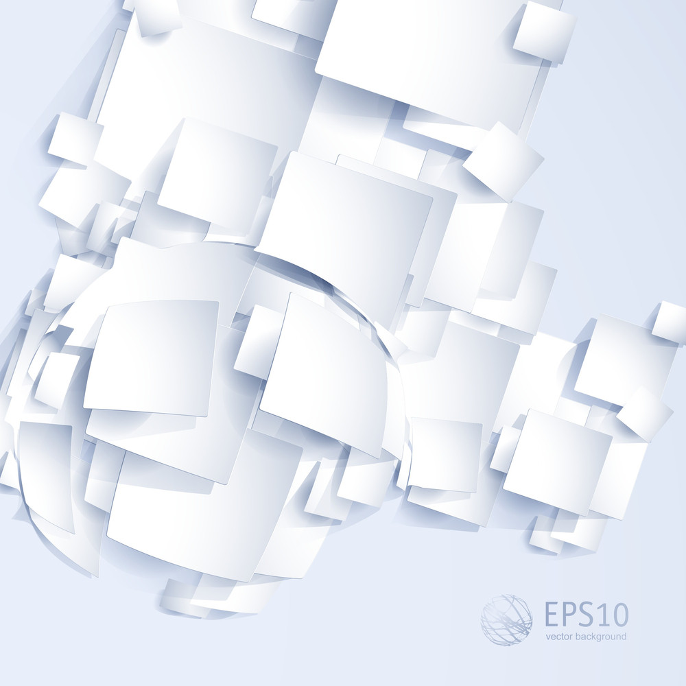 White On White Paper Light Background. Vector Website Template