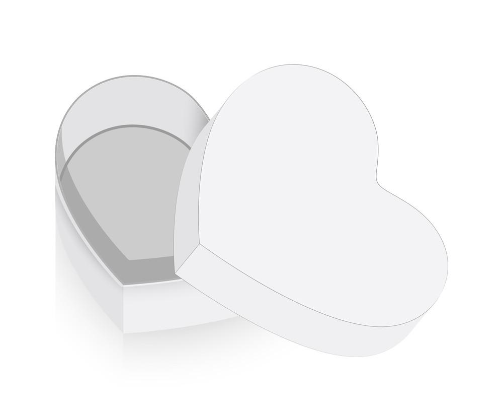 White Open Heart Box