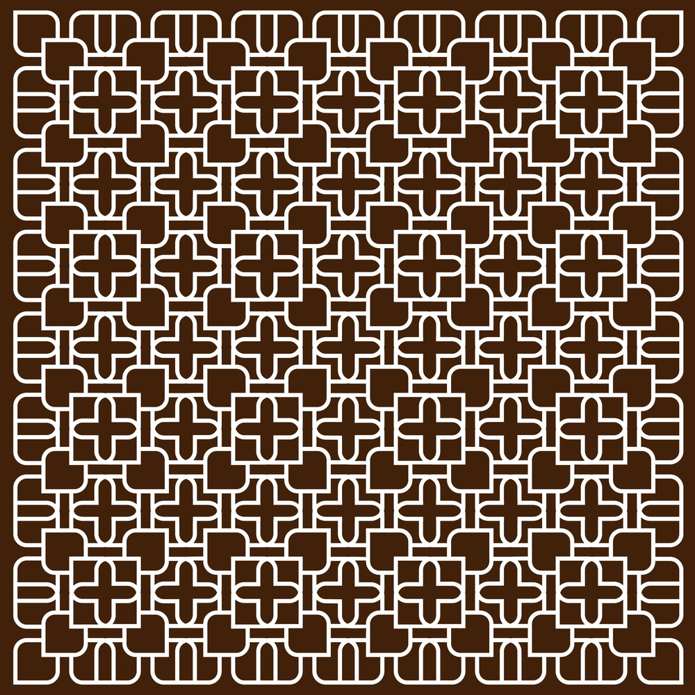 White Pattern In Islamic Style On Dark Brown Background
