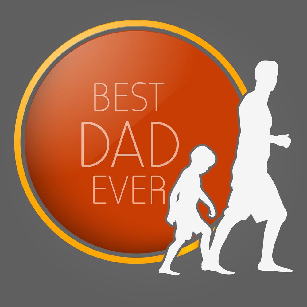White Silhouette Of A Father And His Child