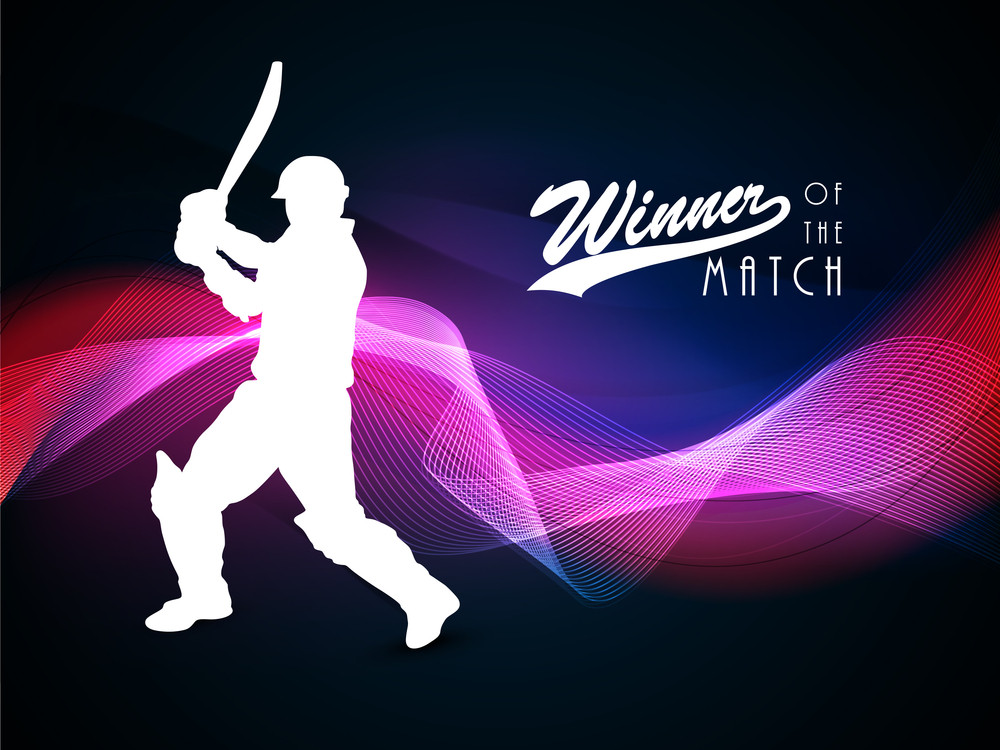 White Silhouette Of Batsman In Batting Action On Shiny Purple Waves Background.