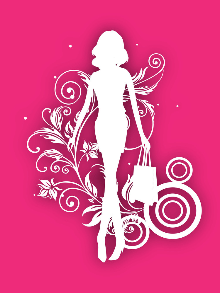 White Silhouette Of Fashionable Girl