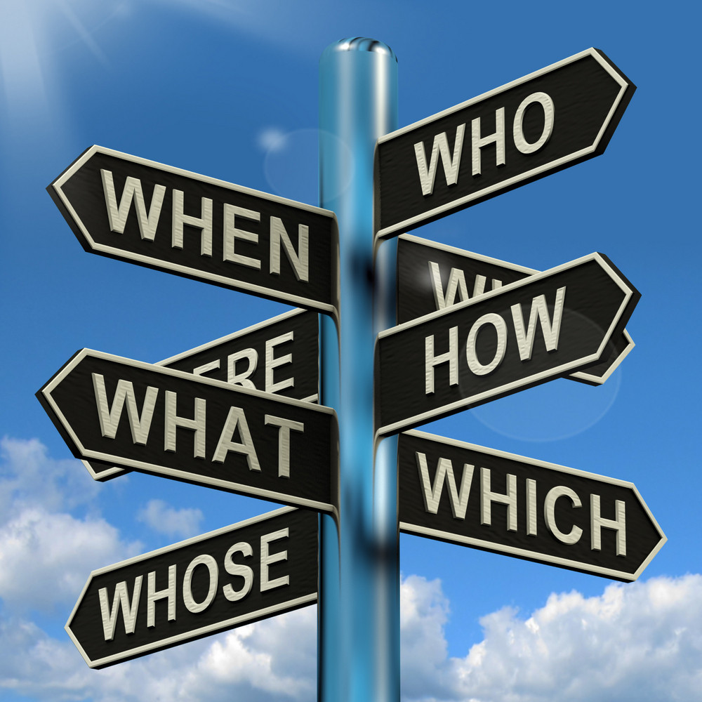 Who What Why When Where Signpost Showing Confusion Brainstorming And Research