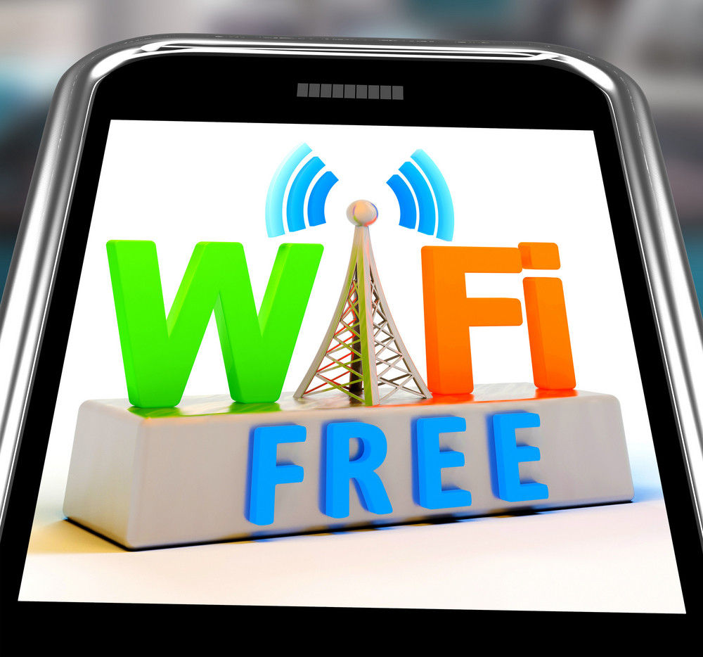 Wifi Free On Smartphone Showing Wifi Broadcasting Area