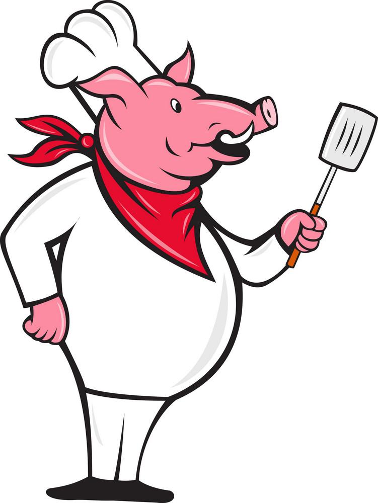Wild Pig Hog Chef With Spatula Cartoon