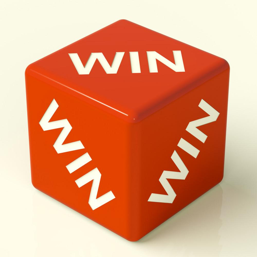 Win Dice Representing Champion And Success