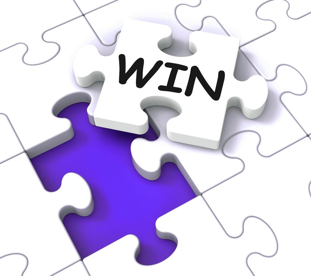 Win Puzzle Shows Success Winner Succeeding