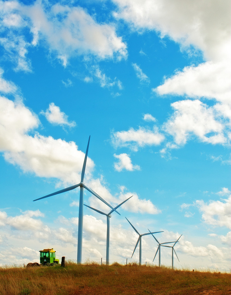 Wind Turbines  And Tractor