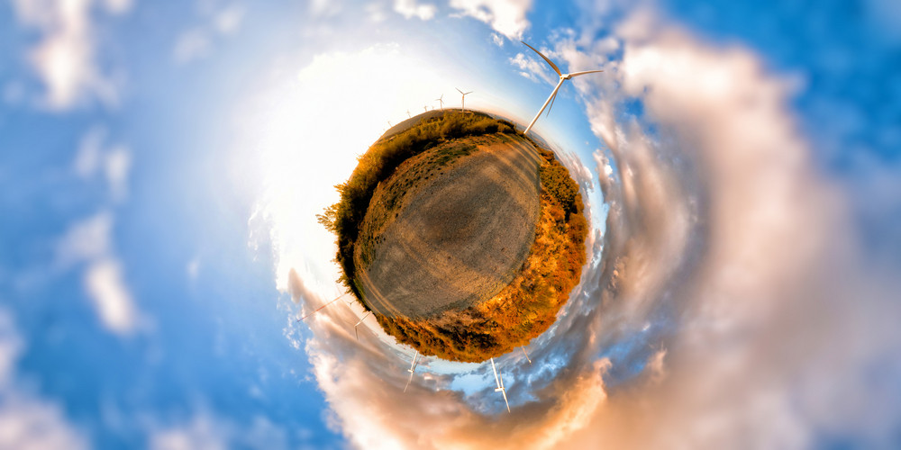 Windmills On Little Planet Alternative Energy Concept