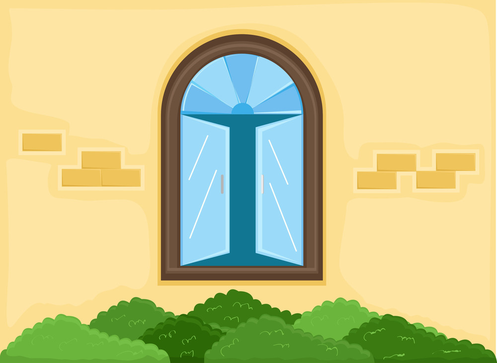 Window - Outside House - Cartoon Background Vector