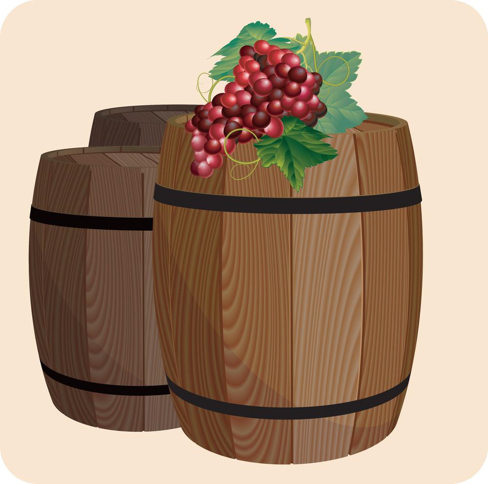 Wine Barrels. Vector.