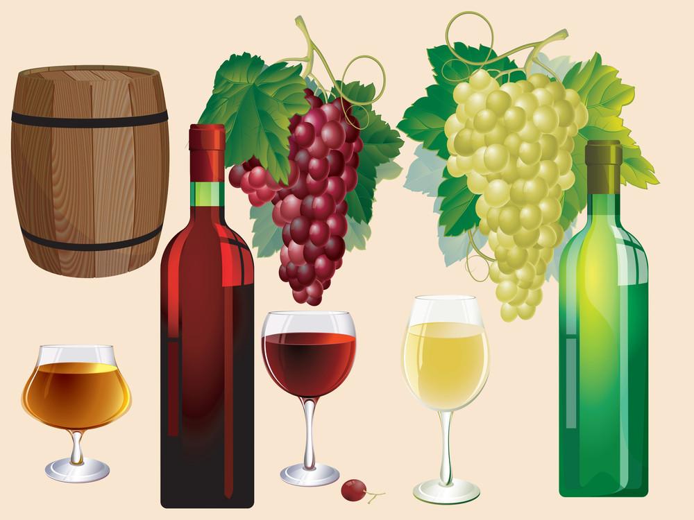 Wine. Vector Design Elements Set.
