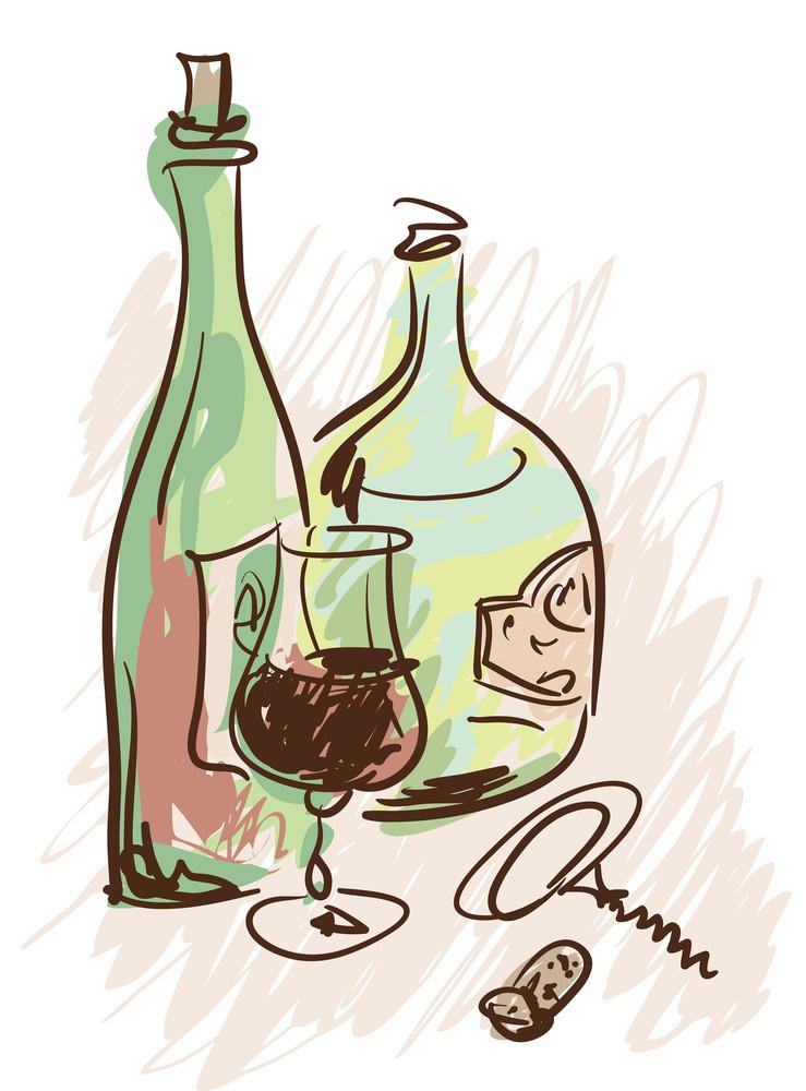 Wine. Vector Sketch.