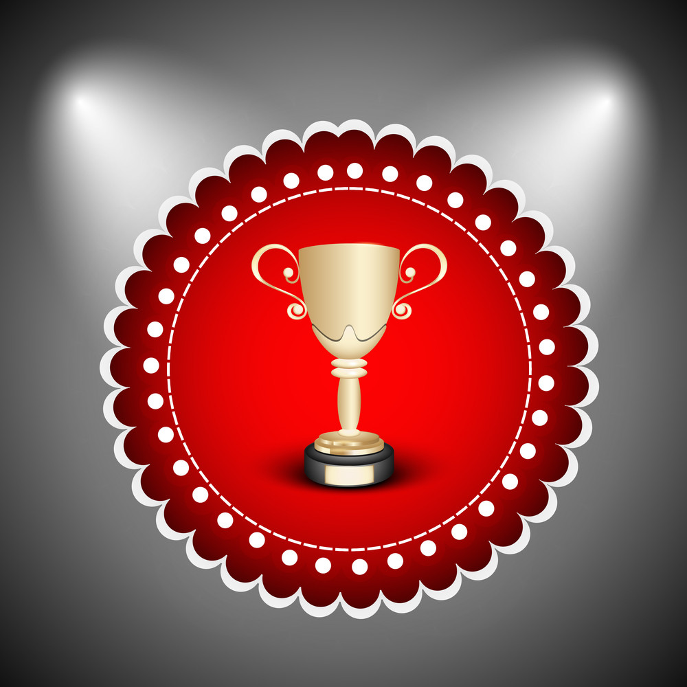 Winning Trophy Or Winning Cup On Abstract Background.