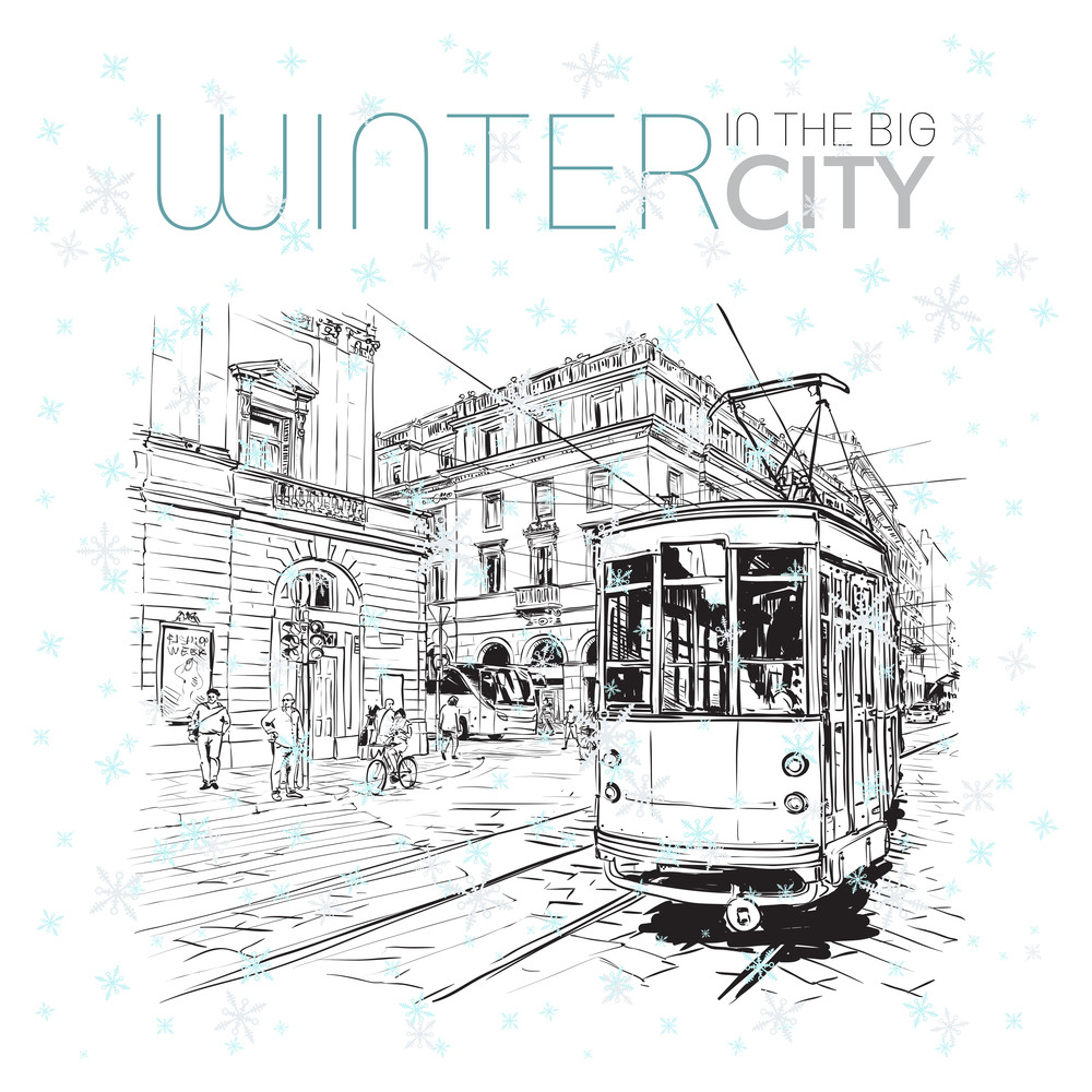 Winter In The City. Vector Illustration.