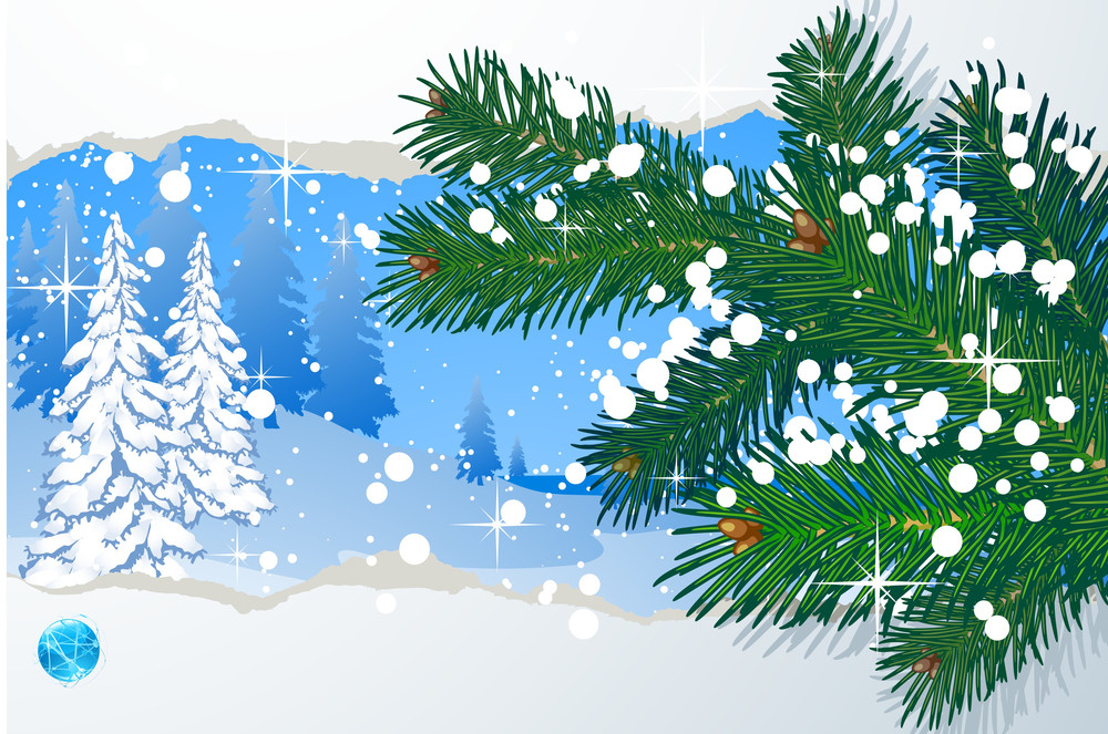 Winter Vector Abstract With Snowbound Fir-trees.