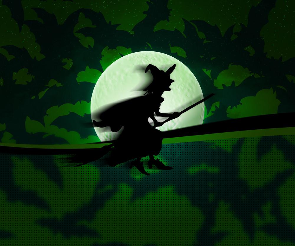 Witch Halloween Green Background