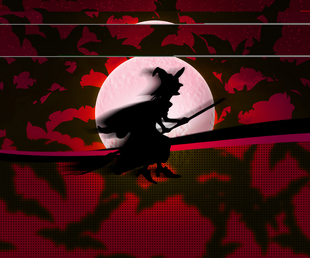 Witch Red Halloween Background