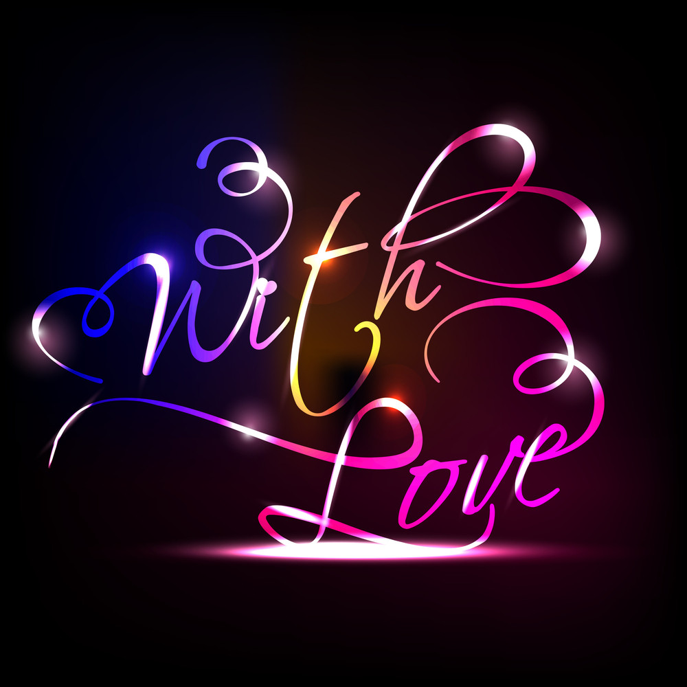 With Love Type Text Vector Illustration With Colorful Glossy Effect.