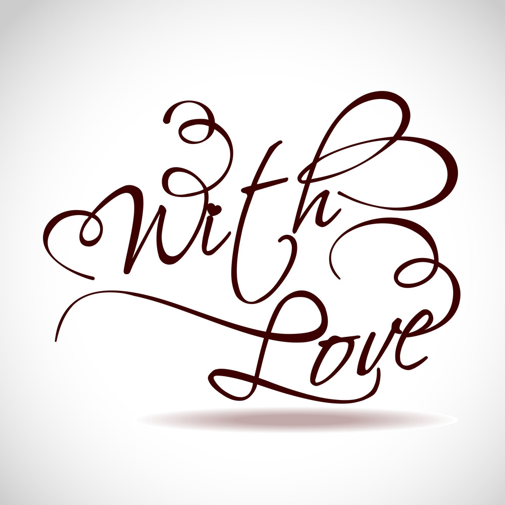 With Love Type Text Vector Illustration.