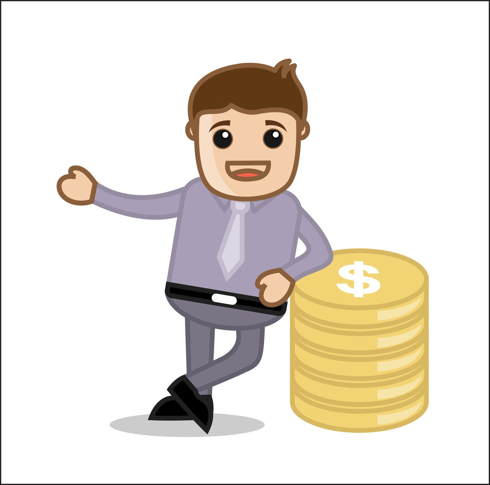 With Money - Office And Business People Cartoon Character Vector Illustration Concept