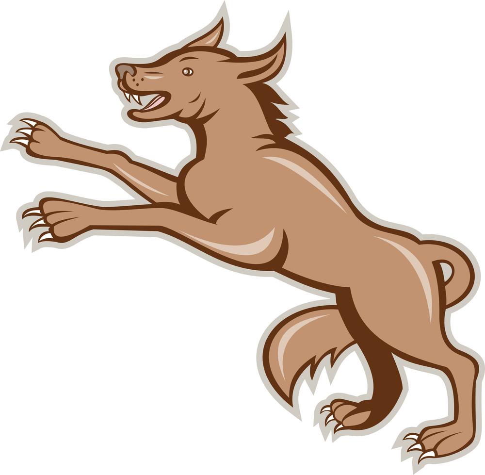 Wolf Wild Dog On Hind Legs Cartoon