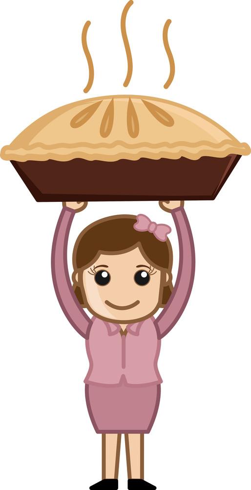 Woman Carrying Pan Cake