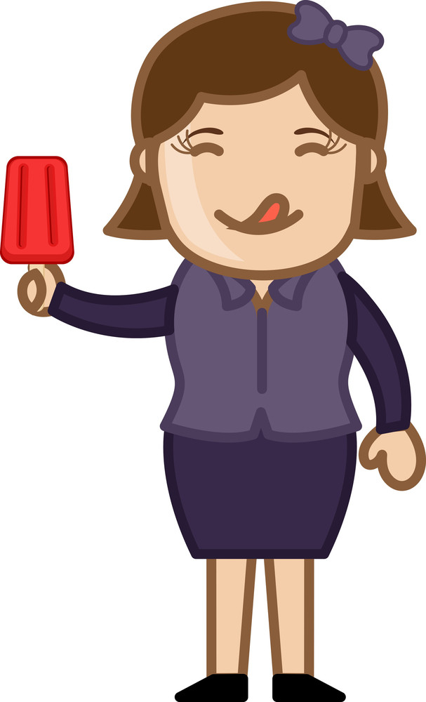 Woman Having Lolly Icecream - Cartoon Business Vector Character