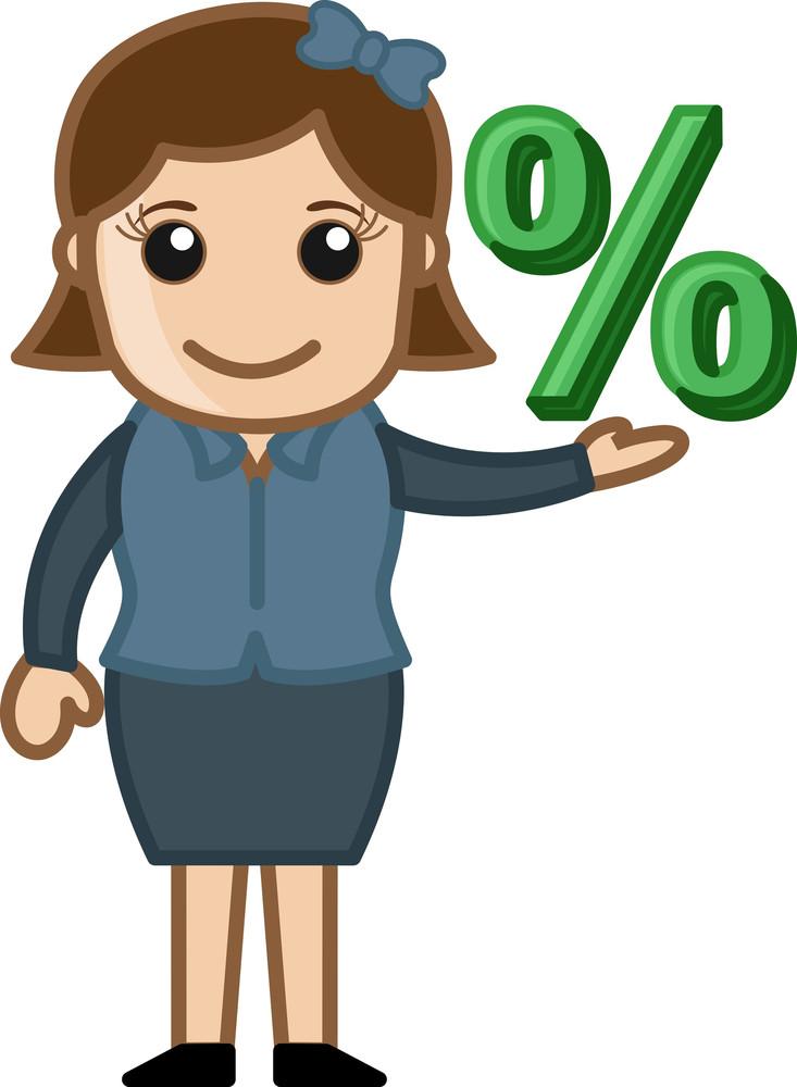 Woman Having Percentage Sign