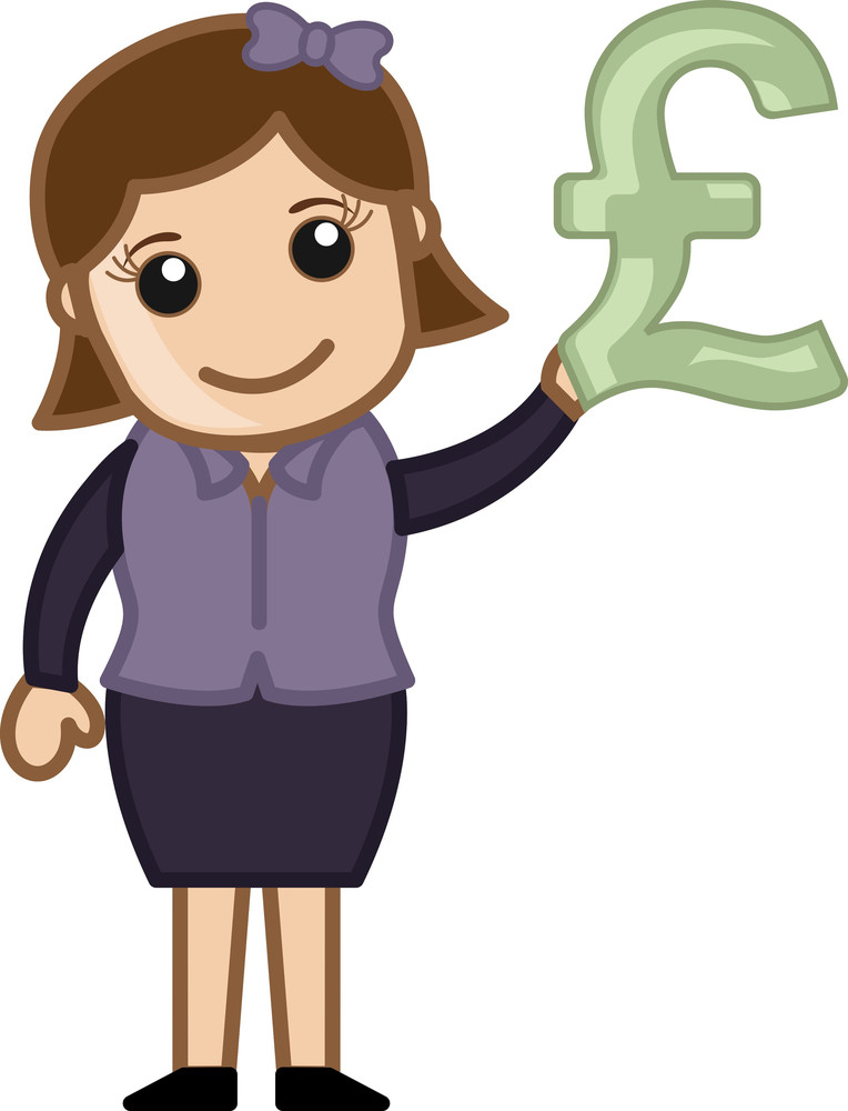 Woman Having Pound Sign In Hand - Business Cartoon Character Vector