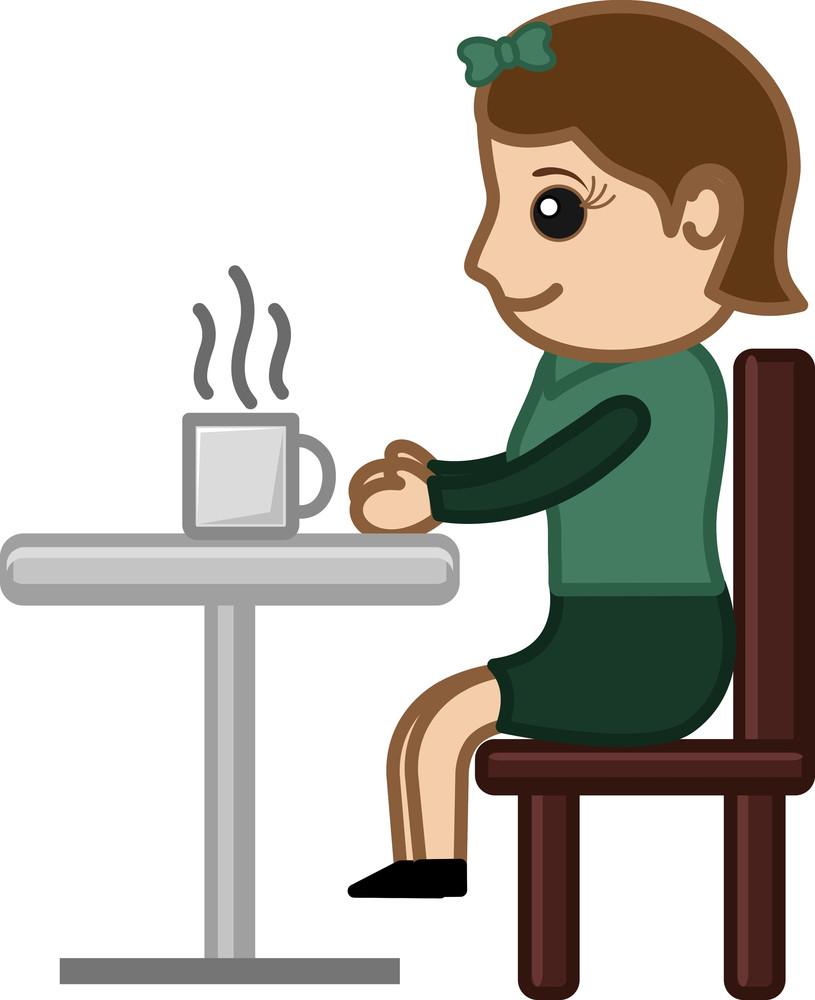 Woman Having Tea - Cartoon Business Vector Character