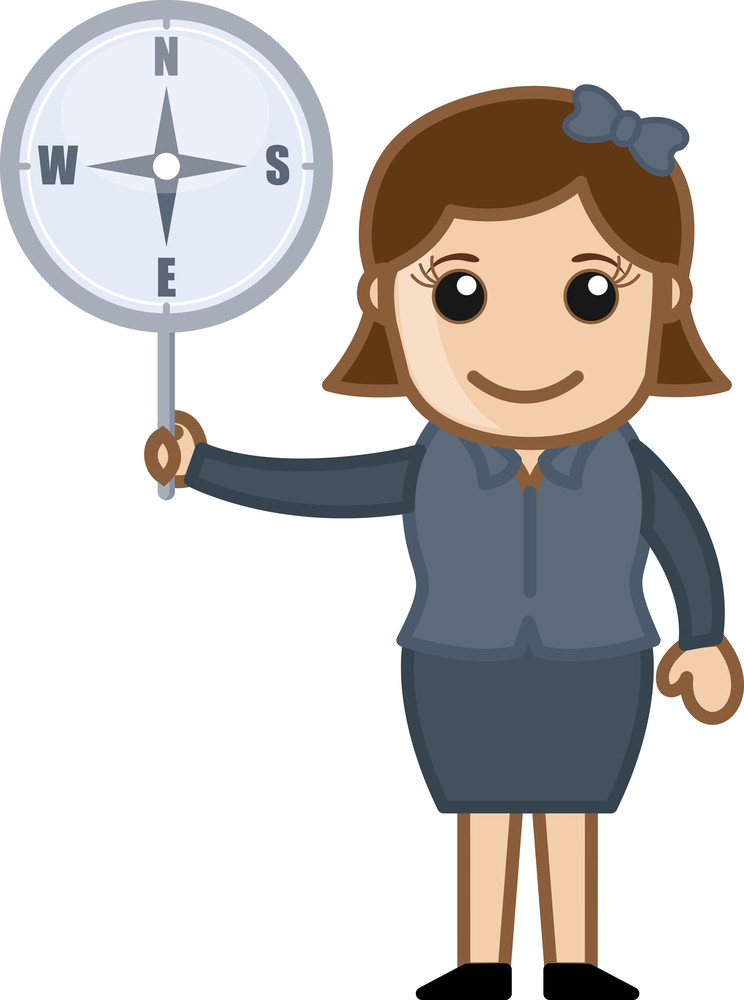 Woman Holding Compass Vector