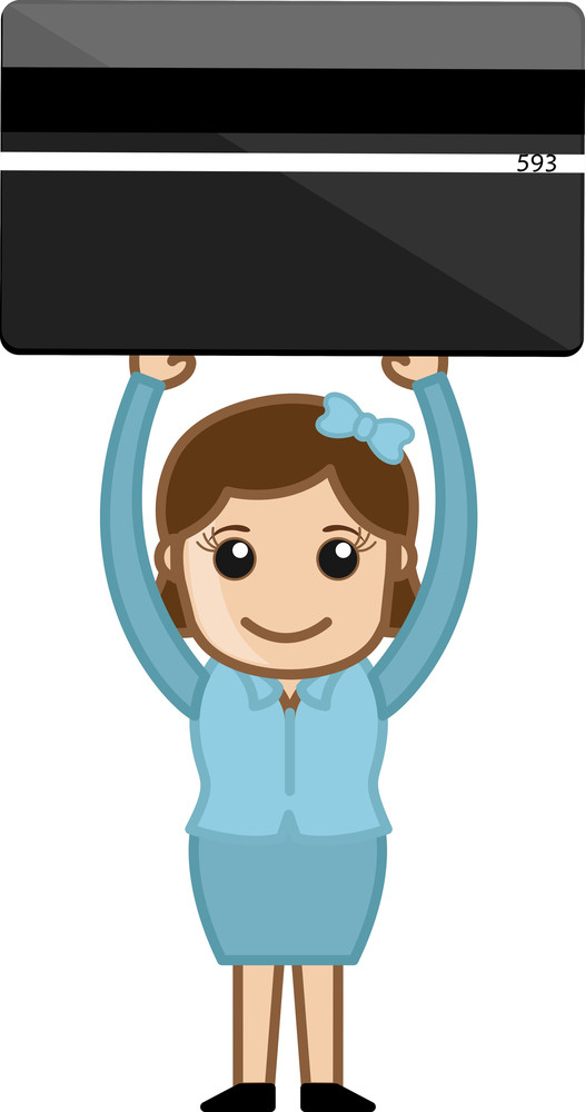 Woman Holding Credit Card - Plastic Money Concept - Business Cartoons Vectors