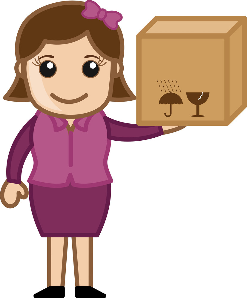 Woman Holding Delivery Box - Vector Character Cartoon Illustration
