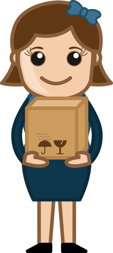 Woman Holding Fragile Box - Vector Character Cartoon Illustration