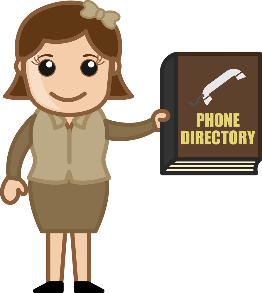 Woman Holding Phone Directory - Business Cartoons Vectors