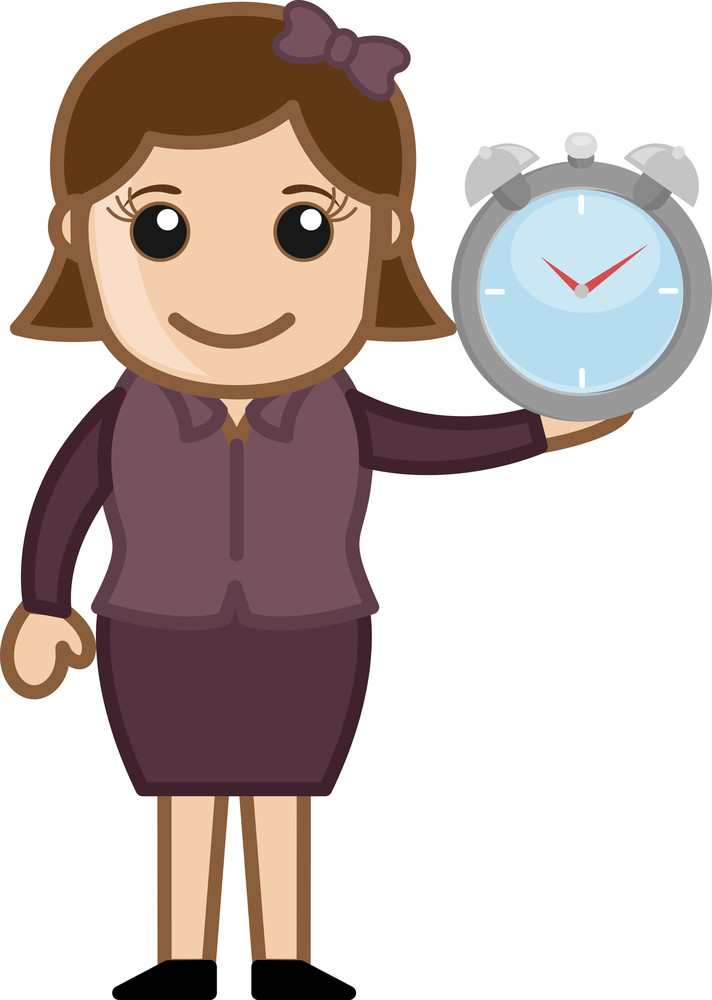 Woman Holding Watch - Vector Character Cartoon Illustration