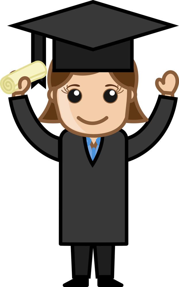 Woman In Graduation Dress - Cartoon Office Vector Illustration