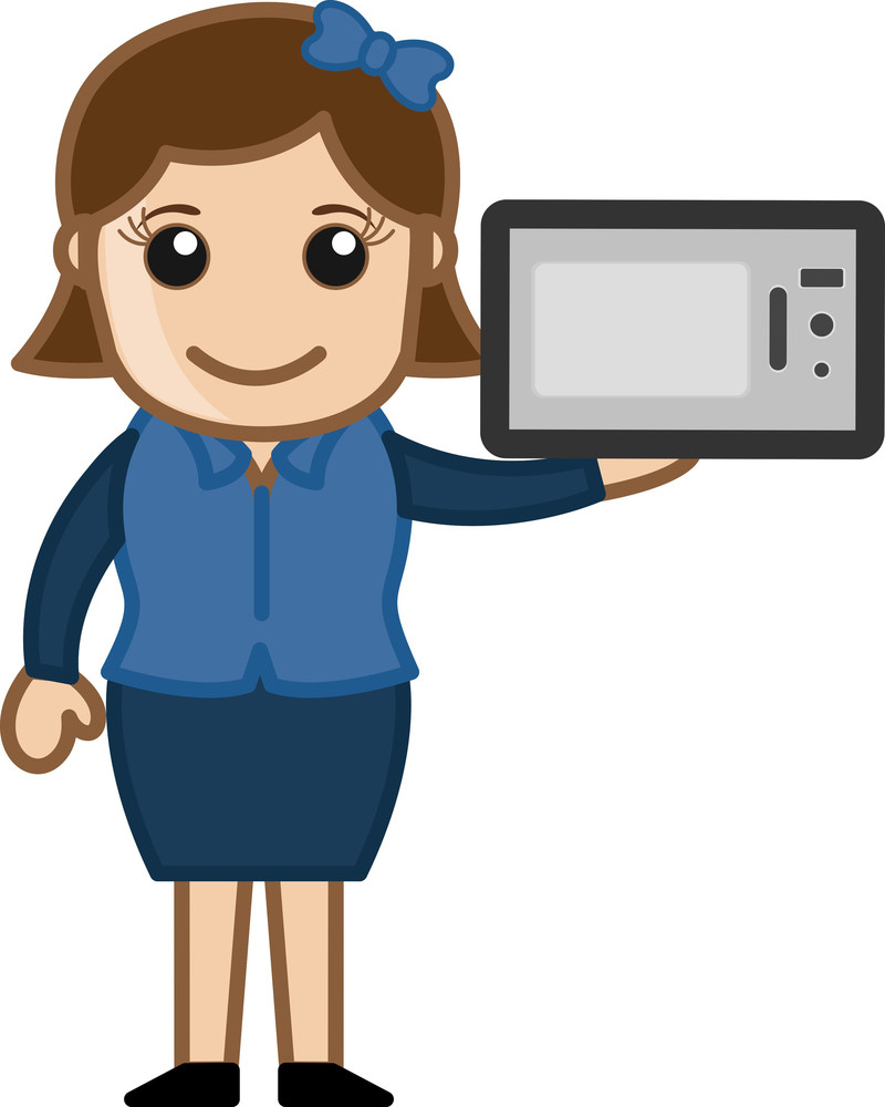 Woman Presenting Microwave Oven - Vector Illustration
