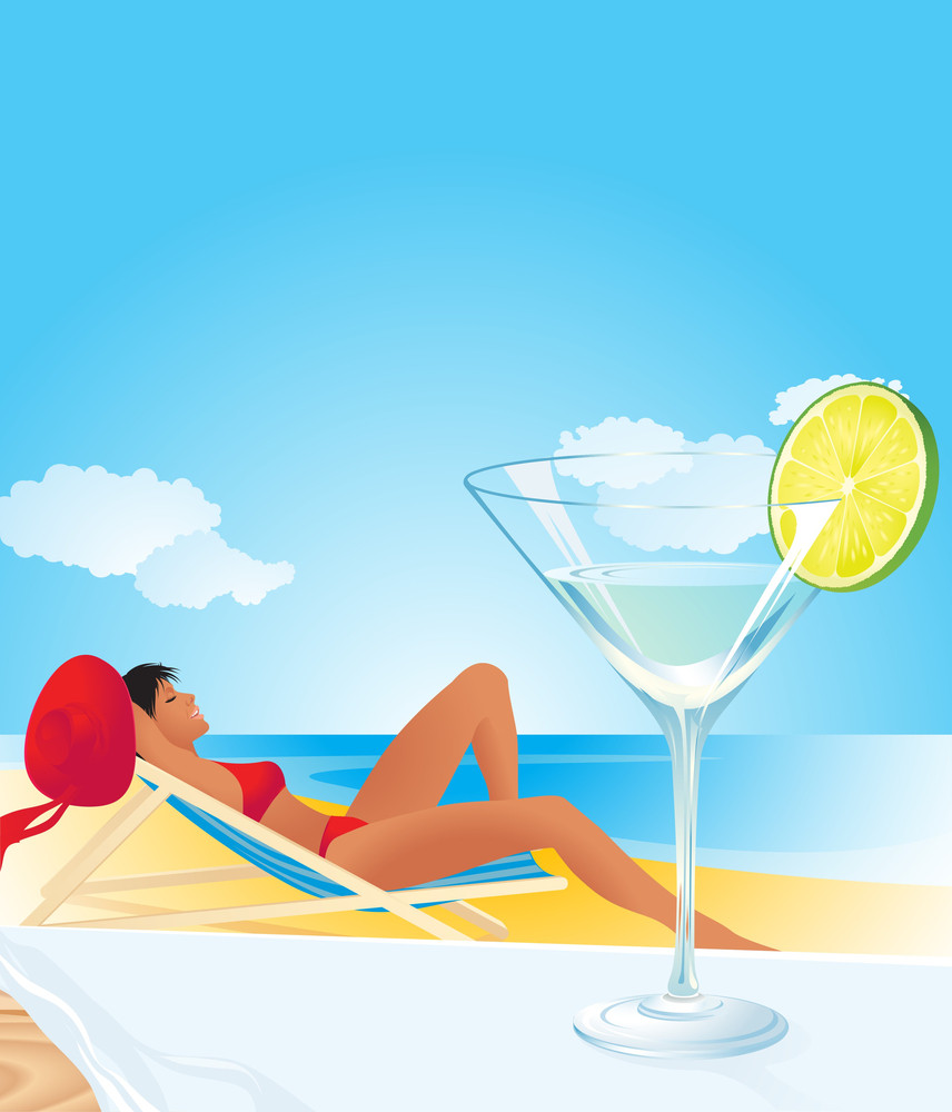 Woman Relaxing On A Tropical Beach. Vector Background