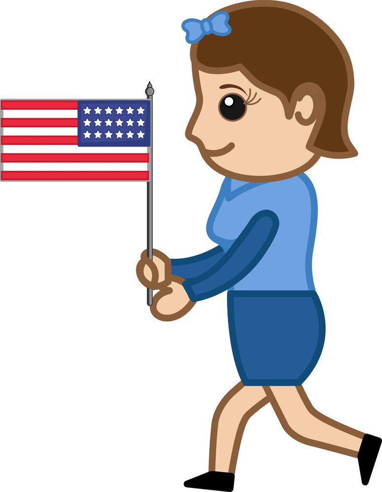 Woman Running With Us Flag - Cartoon Business Characters
