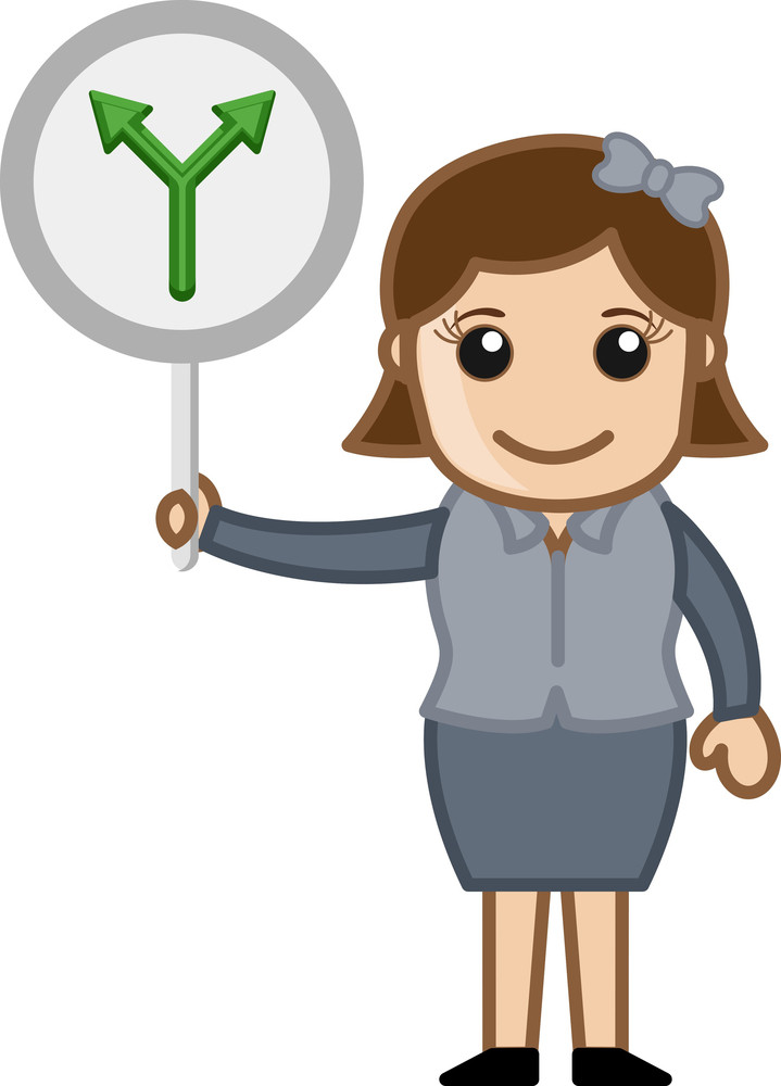 Woman Showing Arrow Sign