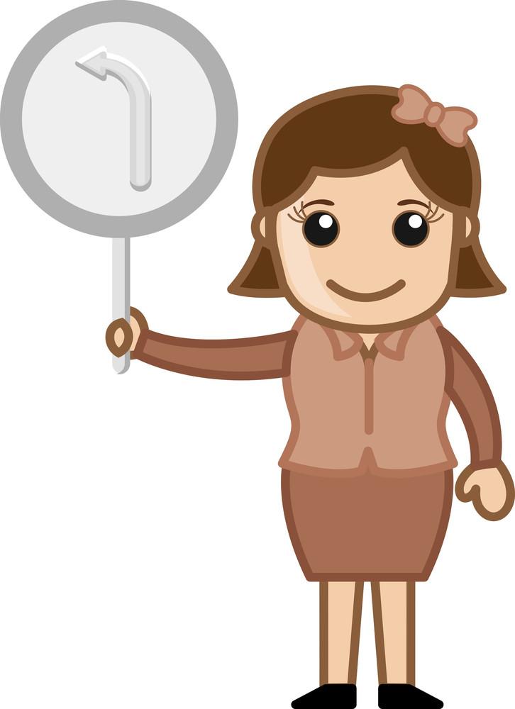 Woman Showing Arrow